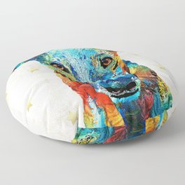 Dog Art - Colorful Greyhound - Sharon Cummings Floor Pillow