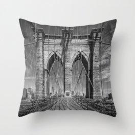 NEW YORK CITY Brooklyn Bridge in Detail Throw Pillow