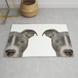 Pit bull with white background Rug
