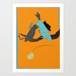 bird flight love moon 58 Art Print