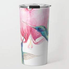 Bleeding Heart - watercolor hummingbirds and bleeding hearts Travel Mug