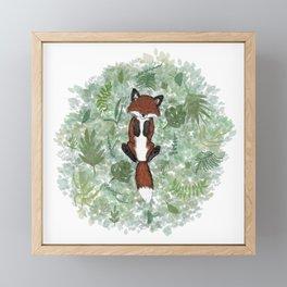 Baby Fox in Leaves Framed Mini Art Print