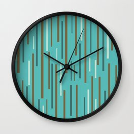 Interrupted Lines Mid-Century Modern Minimalist Pattern in Turquoise and Brown Wall Clock