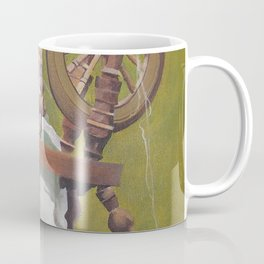 Old Irish Woman Sitting At A Spinning Wheel Coffee Mug