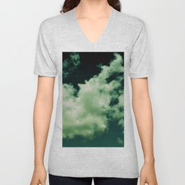 NEPHELAI SERIES Puffy clouds on teal  Unisex V-Neck
