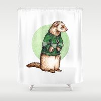 slytherin Shower Curtains featuring Little Slytherin ferret Draco Malfoy  by Susanne