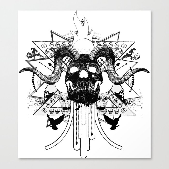 Rock Horned Skull Graphic  Canvas Print