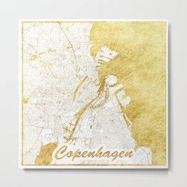 Copenhagen Map Gold Metal Print