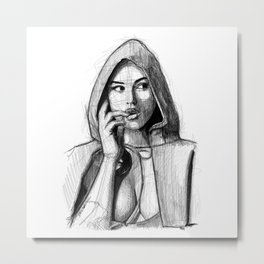 Monica Bellucci - Little Red Riding Hood Metal Print