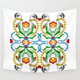 Scandinavian Folk Art ~ Tulip Mosaic Wall Tapestry
