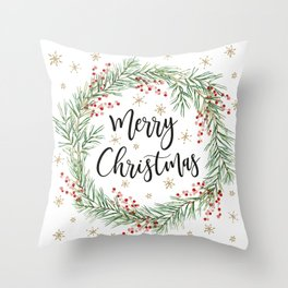 Merry Christmas wreath with red berries Throw Pillow