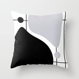 Lines and Curves #5 - Black & White - Set 1 Throw Pillow