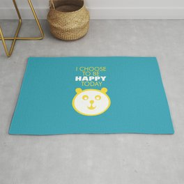 Happy panda, I choose to be happy today inspirational quote Rug