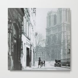 Notre Dame Cathedral, Paris, France early 20th Century black and white photograph / black and white photography Metal Print