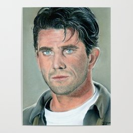 Mel Gibson portrait with dry pastels Poster