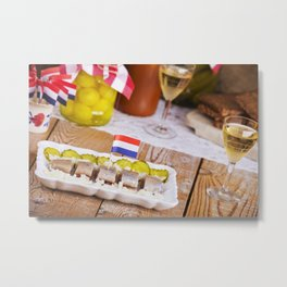 I - Dutch herring ('haring') with onions and pickles on rustic table Metal Print