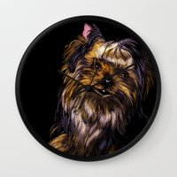 yorkie Wall Clocks featuring Yorkie Terrier by Eliza Leahy