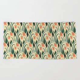 a lot of flowers for art deco green Beach Towel