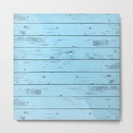 Blue Wood Texture Metal Print