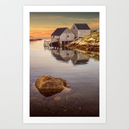 Peggy's Cove Harbor at Sunset in Nova Scotia Art Print