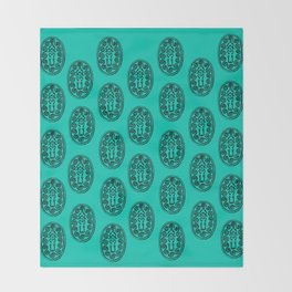 Ancient Egyptian Amulet Pattern Turquoise Blue Throw Blanket