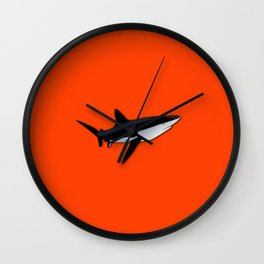 Bright Fluorescent Shark Attack Orange Neon Wall Clock
