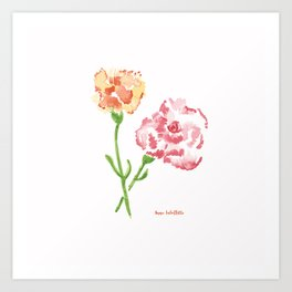 Pink and Orange Carnations Art Print