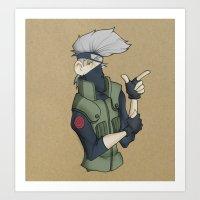 kakashi Art Prints featuring Kakashi by Salva Laserna