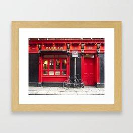 Red Dublin Pub Framed Art Print