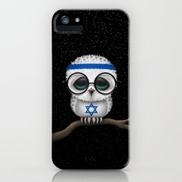 Baby Owl with Glasses and Israeli Flag iPhone Case