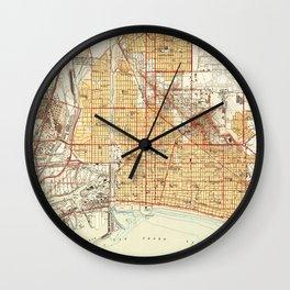 Vintage Map of Long Beach California (1949) Wall Clock