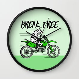 Cow riding a motorbike Wall Clock