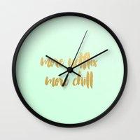 netflix Wall Clocks featuring More Netflix More Chill by Nicole Davis