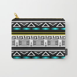 Black and white c turquoise abstract striped pattern . Carry-All Pouch