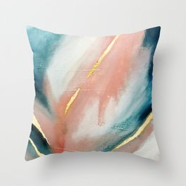 Celestial [3]: a minimal abstract mixed-media piece in Pink, Blue, and gold by Alyssa Hamilton Art Throw Pillow