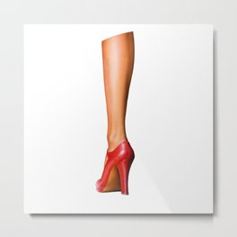 A woman's leg with a red high-heeled shoe Metal Print