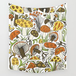 Hand-drawn Mushrooms Wall Tapestry