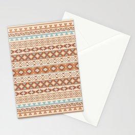 Aztec Stylized Pattern Blue Cream Terracottas Stationery Cards