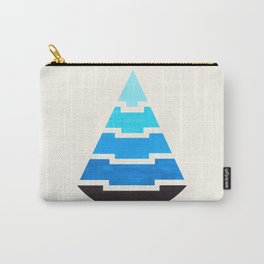 Cerulean Blue Gouache Painting Aztec Minimalist Abstract Geometric Pattern Pyramid Carry-All Pouch