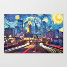Minneapolis Starry Night Version 1 Canvas Print