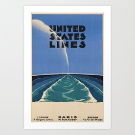 United States Lines Placard Art Print