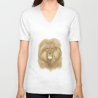 the lion king V-neck T-shirts featuring king lion by Ewa Pacia