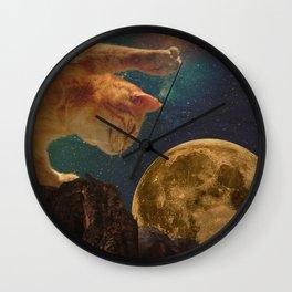 Cat hunting the moon Wall Clock