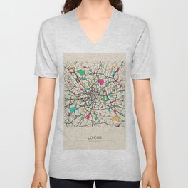 Colorful City Maps: London, United Kingdom Unisex V-Neck