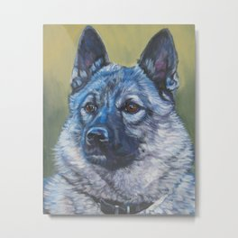 Norwegian Elkhound dog art portrait from anoriginal painting by L.A.Shepard Metal Print