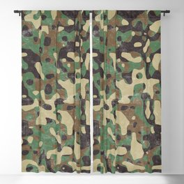 Distressed Army Camo Blackout Curtain