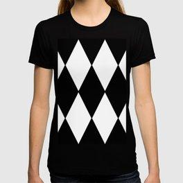 LARGE BLACK AND WHITE HARLEQUIN DIAMOND PATTERN T-shirt
