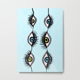 Creepy Eyes Fun Weird Garlands Metal Print