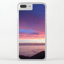 Purple and Pink Summer Beach Sunset Clear iPhone Case