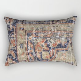 Vintage Woven Navy Blue and Tan Kilim  Rectangular Pillow